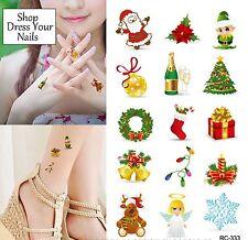 Xmas Temporary Body Tattoo CHRISTMAS Santa Tree Candy Presents Wreath Elf  #333
