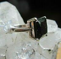 ring silber 925 mit großem schwarzem kristall quader 8 g 19 mm neuw