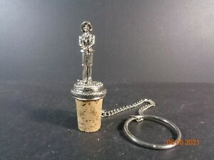 Lady Golfer wine bottle cork Polished Pewter Stopper with chain & ring