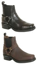 Mens American Cowboy Western Style Biker Boots in Black Brown Genuine Leather