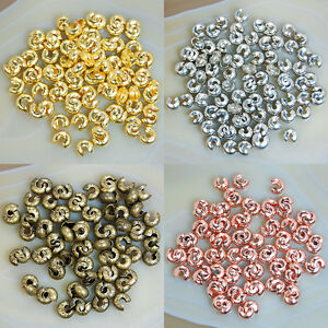 80Pcs Crimp Covers 4mm Plated Knot Covers End Beads Pick Color