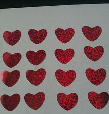 Hotfix iron on transfers 20 red meduim hologram hearts size 2 cm