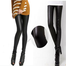 Women Sexy Imitation Matte Leather Stretch Skinny Legging Tight Pants Trousers