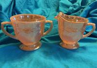 Vintage Fire King Peach Lusterware Creamer and Sugar Bowl Laurel Leaf Pattern
