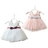 Baby Girls Lace Dress Toddlers Kids Floral Formal Party Bridemaid Wedding Gowns