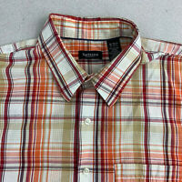 Van Heusen Button Up Shirt Mens XL Orange Plaid Short Sleeve Casual