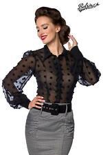 Vintage Chiffon Bluse ❀ schwarz transparent Effektstoff Retro Belsira S - 4XL