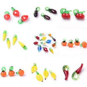 20Pc Cute Handmade Lampwork Glass Dangle Pendants Charms Fruit Vegetable Theme