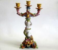 "Antique Vtg Handpainted Figural w/ Serpent Candelabra 18.5"" Marked Italy 1518"
