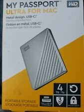 Western Digital My Passport ULTRA for MAC 4TB Portable External HDD - Silver
