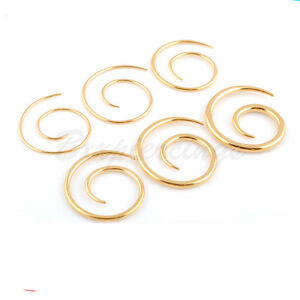 1 PAIR Color Plated Surgical Steel Spiral Taper Anodized Twist Ear Ring 18g~8g