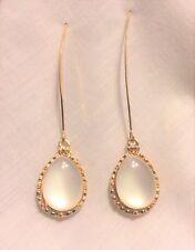 """Earrings White Acrylic Teardrop On Marquis Earwire 3"""""""