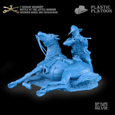 Plastic Platoon Toy Soldier 7th Cavalry Regiment Wounded Horse And Cavalryman
