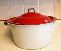 Vintage Large Enamel Ware Farm House Round Pot White & Red -Missing Handle