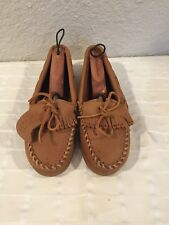 New Minnetonka Light Brown Moccasin Boat Shoes Moosehide 8 US Made in Dominican
