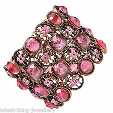 Pink Bracelet Coral Diamante Stretch Cuff Design