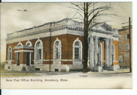 CG-020 MA, Amesbury, New Post Office Building Undivided Back Postcard