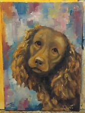 OriginAl Oil Painting~American Water Spaniel~Dog~30 minute work~Impressionism