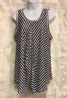 ND New Directions Blue Striped Pullover Sleeveless Tank Top Size L - EUC