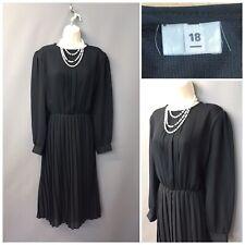 Vintage Negro Vestido Plisado UK 18 EUR 46