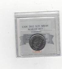 **2012 War of 1812 Tecumseh**Coin Mart Graded Canadian, 25 Cent,**MS-64**