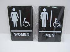 Men & Women Black 9 x 6 inch ADA Handicap Restroom Signs-Set