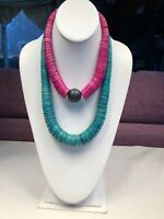 Lot Of 2 Stackable Graduated Necklaces Pink Turquoise Brown Wood Beads Statement