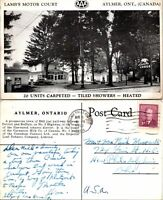 Postcard Aylmer Ontario Canada Lambs Motor Lodge AAA Black White Used 1953 1B