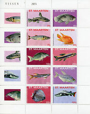 St Maarten 2015 MNH Fishes 10v Block Set Fish Marine Vissen Stamps