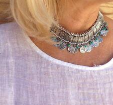 Collar monedas y turquesas aleación plata gargantilla boho Zamak collar étnico
