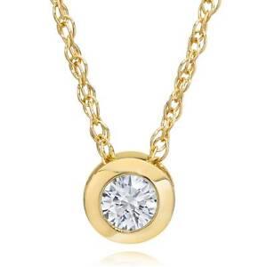 "14K Yellow Gold 1/4 ct Round Diamond Solitaire Bezel Pendant Necklace 18"""