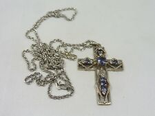 CONTEMPO STERLING SILVER  NECKLACE W  STERLING SILVER AMETHYST CROSS