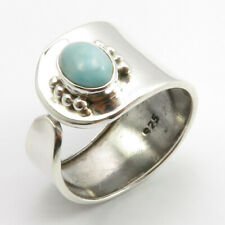 14 mm Sterling Silver Ladies Fashion Natural Larimar Ring # 7.5 Face Width