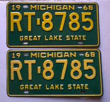 Pair 1968 Michigan MI License Plates RT-8785, Dodge Charger Challenger Coronet