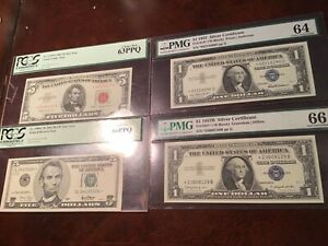 PMG 63 66 1963 $5 RED SEAL STAR NOTE 1957 SILVER CERTIFICATE 4 STAR NOTE LOT