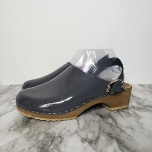Hanna Andersson Swedish Clogs Slingback Strap Patent Leather Size 39 8 Gray