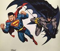 ED McGUINNESS rare BATMAN & SUPERMAN print SIGNED limited SDCC exclusive 16x16