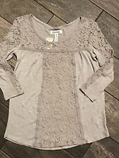 Aeropostale Grey Silver Lace Tee Top Size XS Brand New NWT