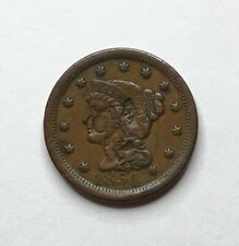 "1854 Braided Hair Large Cent - ""Counterstamp"" - VF"