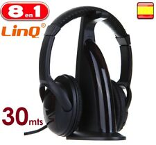 CASCOS AURICULARES INALAMBRICOS 30 mts CON RADIO FM PARA TV PC MP3 MP4 8 EN 1