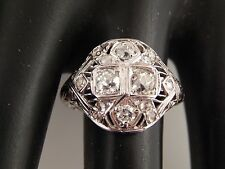 Old Mine Cushion Cut Diamond Cocktail Ring 1.13 tcw J/SI ART DECO 18k WG Estate