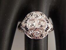 Old Mine Cushion Cut Diamond Cocktail Ring 1.13 tcw J/SI ART DECO 18k WG Estate
