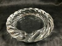 "Vintage Clear Crystal Rope Twist Rim 6"" Ashtray"