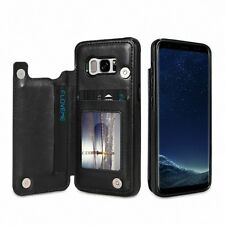 For Samsung S7/8 Slim Wallet Case Purse Back Card Holders Magnetic Leather Cover