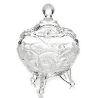 Studio Silversmiths Liliana Collection Fine Crystal Covered Canister Candy Dish