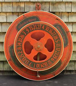 Antique 20thC Folk Art Painted, DOUBLE Gaming Wheel, Carnival Gambling Game, NR