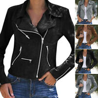 Women Ladies Leather Jacket Coats Zip Up Biker Casual Flight Top Coat Outwear A
