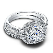 14Kt White Gold Ring Size 5 6 7.5 1.10 Ct Round Real Diamond Engagement Band Set