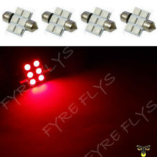 4 Red 31mm 6SMD festoon dome map interior LED light lamp DE3175 3022 3021 4xC3