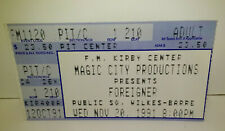 Foreigner Concert Ticket Stub - Kirby Center, Wilkes-Barre, Pa 11/20/91